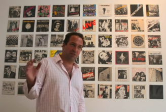 Toby Mott shows off his inner punk at launch party for Jubilee Punk Singles exhibition