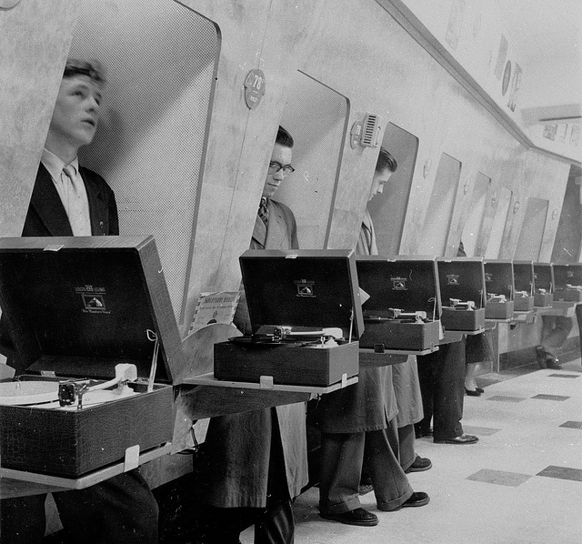 This thread is for thought-unprovoking pictures - Page 2 Customers-using-listening-booths-1950s-HMV