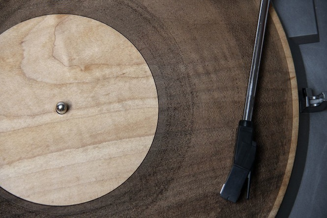 wooden record